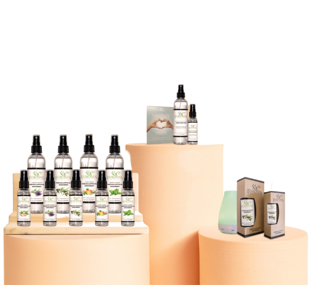 retail shelf with EuroSpa Aromatics ShowerMist