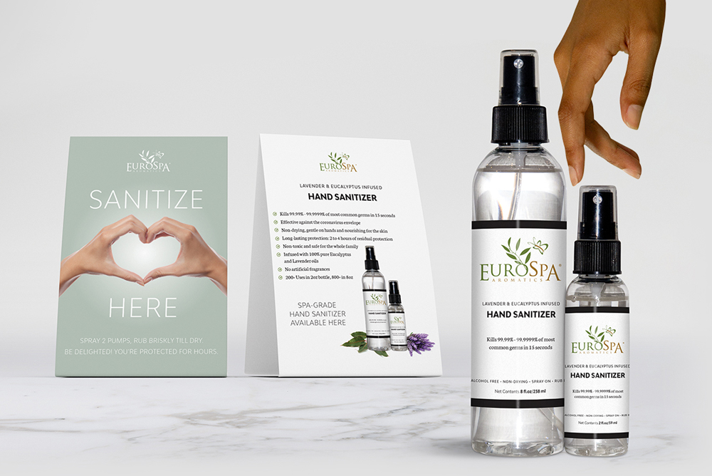 Lavender & Eucalyptus Infused Hand Sanitizer with Tent Card